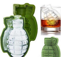 Wholesale whiskey tray - 3D Grenade Shape Ice Cube Mold Silicone Ice Cream Maker Party Whiskey Wine Ice Tray Creative Kitchen Tool