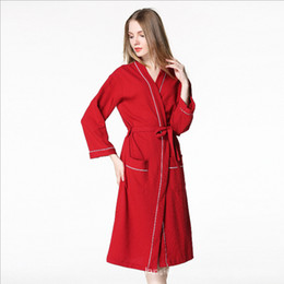 d069adf42926 2018 Autumn New Hot Spring Robe Women 100% Cotton Nightgown Girl Simple Robe  Female Long Sleeve V-neck collar Bathrobe Plus size