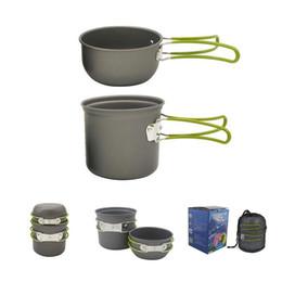 Outdoor camping hiking panelas mochila on-line-Outdoor 1-2 Pessoa Alumínio Anodizado Não-stick Potes de Cozinha Camping Caminhadas Mochila Piquenique Panelas Pote Tigela Conjunto