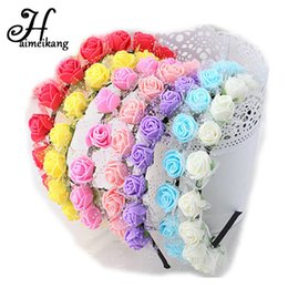 Wholesale Children Flower Crowns - Haimeikang Sweet Candy Color Children Foam Flower Headbands Wreath Bezel Flowers Crown Headpiece Kids Girls Hair Accessories