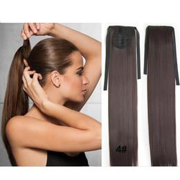 Médio ponytails marrom on-line-Aplique o Wrap-Around rabo de cavalo cabelo castanho médio sintético peruca Rabos de cavalo criar uma espessura esconder seu natural 22 polegadas 1pc