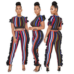 Wholesale sexy animal costumes - 2018 Hot Fashion Ladies Striped Sleeveless Sexy Bodycon Costume O-neck Women Jumpsuits Ruffle Sexy Club Rompers