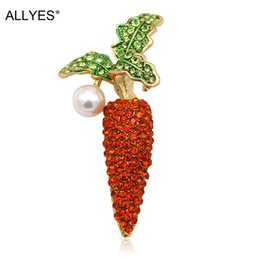 Wholesale large pearl brooch - ALLYES Vegetable Carrot Brooches For Women Gold Color Metal Simulated Pearl Red Crystal Costume Large Enamel Pin Brooch Jewelry