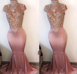 high neck sleeveless evening dresses Australia - 2017 Mermaid Pink Prom Dresses Long High Neck Pearls Sleeveless Lace-Appliques Crystal Beaded 2K17 Prom Gowns Evening Party Dress