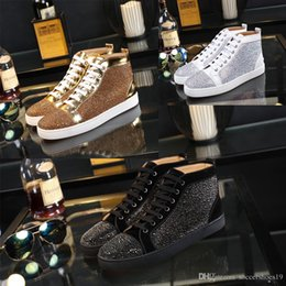 Wholesale Mens Casual Comfort Leather Shoes - New mens womens louboutin high top green suede red bottom casual shoes,fashion gentleman designer lace-up sneakers eur 36-46