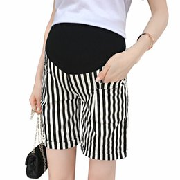 b12ba08334dfa Vertical Stripes Thin Maternity Shorts 2018 Summer Fashion Clothes for Pregnant  Women Hot Pregnancy Shorts Wholesale