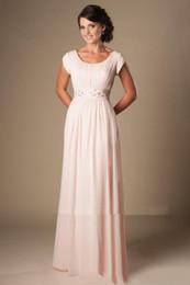 Скромные платья день онлайн-Бисером розовый длинный шифон скромные платья невесты рукава элегантный вечер свадебные платья-line длина последний день невесты