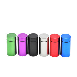 Wholesale can storage - Water airProof Can with logo Pill Box Case Rubber Air Tight Silver Aluminum Airtight Cylinder Stash Case Tobacco Herb Storage Bottles Box