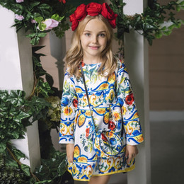 Wholesale Bags Gowns - Toddler Girls Dresses with Bag 2018 Children Princess Dress Enfant Patterns Printed Girl Dress Long Sleeve Kids Spring Clothes