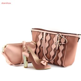 Wholesale Matching Shoes Purses - Latest Matching Shoes and HAND Bag With Purse Set Beautiful PINK Color Fashion Shoes and Bag For Women UL1-5
