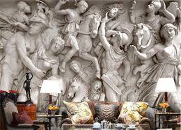 2019 tinta branca chinesa Sob encomenda da foto papel de parede 3D estátuas Romanas arte papel de parede restaurante retro sofá pano de fundo 3d papel de parede mural pintura de parede