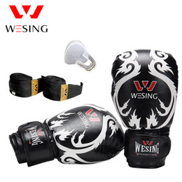 fighting training gear Coupons - 10OZ Wesing Sanda Training Equipment Set Boxing Gloves Teeth Protector Handrap Punch Bag Glove Protector Gear Fight Fitness