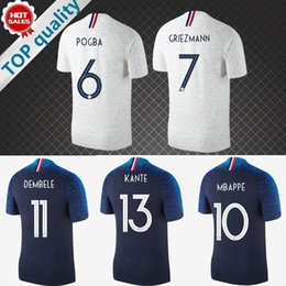 Wholesale Royal Jerseys - 2018 world cup Soccer Jersey Home Royal Blue Away white football Shirt 18 19 POGBA GRIEZMANN MBAPPE France Customized football uniform
