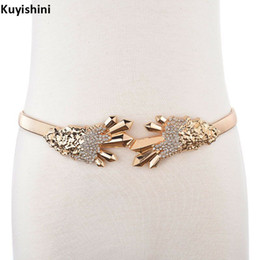 Wholesale wedding rhinestone belt buckles - Fashion Ladies Luxury Belt for Dress Rhinestone Bear Buckle Gold Waist Chain Stretch Wedding Belts