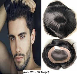 Wholesale Mens Full Lace Wigs - Stocked Mens Toupee Mono with PU Perimeter Base Toupee Top Selling Black Hair Unprocessed Virgin Brazilian Human Hair Toupee Free Shipping!