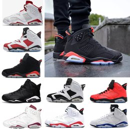 Wholesale Cheap Purple Shoes - Cheap 2018 Retro 6 6s Basketball shoes men unc Black Cat Infrared sports blue Maroon Olympic Alternate Hare Oreo Chrome Angry bull sneakers