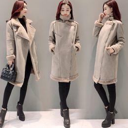 Wholesale Lamb Leather Coats Women - Wholesale-2017 Winter Women Faux Lambs Wool Outerwear Female Long Thick Warm Shearling Coats Zipper Faux Suede Leather Jackets H162