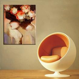 pinturas abstratas senhora Desconto Pintados à mão bela dama com pintura a óleo da flor na lona artesanal abstrata pinturas a óleo retratos da parede