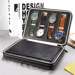 Wholesale jewelry display grids - 8 Grids PU Leather Watch Box Storage Showing Watches Display Storage Box Case Tray Zippere Travel Jewelry Watch Collector Case