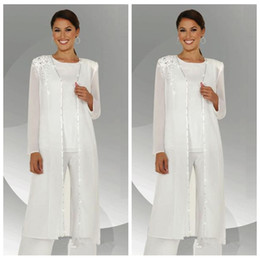 Wholesale Red Chiffon Blouse Long Sleeve - 2018 Custom Formal White Chiffon Long Sleeves Mother of the Bride Pant Suits With Long Blouse Lace Sequins Beaded Mother of Groom Pant Suit