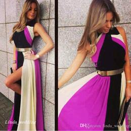 multi abito colorato Sconti Multi colore arcobaleno Prom Dress Bella chiffon laterale fessura delle donne indossare abiti da occasione speciale abito da sera