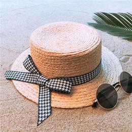 616012c2521 100% Raffia Straw Handmade Weave Women Boater Sun Hat For Lady Summer Beach  Flat Sunbonnet Fashion Bowknot Size 56-58CM