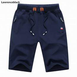 Wholesale skinny sweat shorts men - Lawrenblack Brand 2018 Men Summer Cotton Shorts Male Bermuda Casual Breathable Sweat Board New Short Pants Man Drop shipping 993
