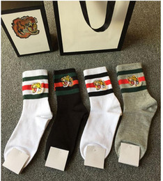 Wholesale Tiger Printed - New Embroidery tiger head Socks stockings for Men And Women Fashion Designer Antibacterial Cotton Luxury Brand Unisex Long Sport Socks