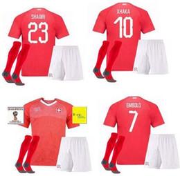 Wholesale Youth Soccer Uniform Jerseys - Soccer jerseys Kids youth boy Uniform Camiseta de futbol 2018 World Cup Switzerland football shirts set Switzer XHAKA Swiss jerseys