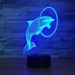 Wholesale Led Night Light Dolphin - Room decorative 3d cute dolphin shaped night light LED 7 colors acrylic table lamp novelty bedside moon night light