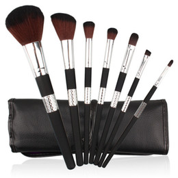 Wholesale Gold Makeup Case - 7pcs set Makeup Brush Kit Black Gold Handle Brushes for Foundation Concealer Eyeshadow Eyeliner Cosmetic Brushes Makeup Tool with Case