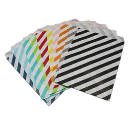 Wholesale hamburger paper - 200pcs 17x13cm Food Paper Bag Line Stripes Food-Grade Greaseproof Paper Fried Chips Chicken Hamburger Packaging Party 10 Color