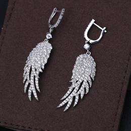 Wholesale Bat Wings Women Tops - Cheap earrings bat Elegant Long Earrings For Wedding Party Top Quality AAA Clear Cubic Zircon Angel wing Crystal Fashion Earring For Women