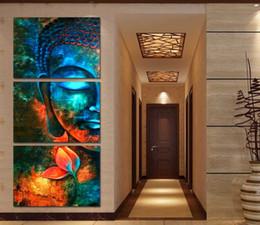 Impression d'art mural bouddha en Ligne-Toile HD Prints Peinture Pour Salon Décor Cadre 3 Pièces Abstraite Bleu Bouddha Affiche Portrait Photos De La Fleur Mur Art