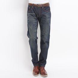 Wholesale Winter Overalls Men - Jeans-men 2018 Nostalgia Trousers Stretch Skinny Men Jean Winter Warm Jeans Men Straight Scratched Pants Overalls Pantalon Homme