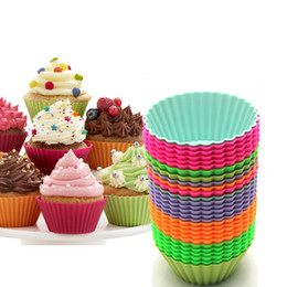 Wholesale Jelly Rubber Fda - Silicone cupcake mold 7cm jelly muffin mould FDA round shape baking mould baking tools backware mix colors