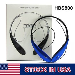 Wholesale Apple Logo Ear - HBS-800 Bluetooth Headsets Headphones Earphones hbs 800 Stereo Wireless Neckbands for iphone 5 6 6s 6Plus without logo With Retail Box