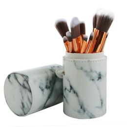 Wholesale pro makeup bags - MAANGE 10Pcs Set Pro Marbling Makeup Brushes Kit Marble Pattern Cylinder PU Brush bag Power Beauty Make Up Brush Cosmetic Tools
