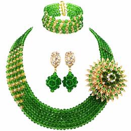 2019 perlen setzt nigerianisch Grüne Champagne Gold AB Nigerian Hochzeit Afrikanische Perlen Schmuck Set Kristall Perlen Halskette Sets Brautschmuck Sets 5RJZ07 rabatt perlen setzt nigerianisch