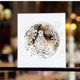 Wholesale Laser Cut Boxes Designs - 3D pop up paper laser cut cards Merry Christmas 3D Tree Boxes snowflake design Greeging cards vintage postcards Message 10pcs