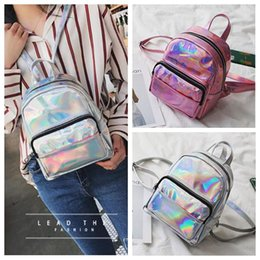 Wholesale women waterproof backpack - 2 Colors Fashion Women Laser Backpack Pink Silver Girls Mini Travel Backpack PU Holographic Waterproof Beach Shoulder Bags CCA9866 16pcs
