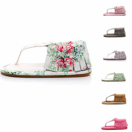 Wholesale girls new design shoes - 11 colors new arrivals baby girl first walkers sandal Flower print tassel design summer infant shoes toddler soft causal shoes