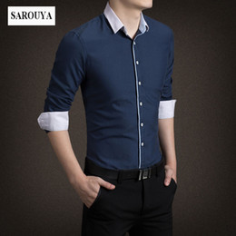 Wholesale Korean Clothing Mens Dress Shirts - SAROUYA Casual Men Shirt Long Sleeve Mandarin Collar Slim Fit Shirt Men Korean Business Mens Dress Shirts Clothes M-5XL