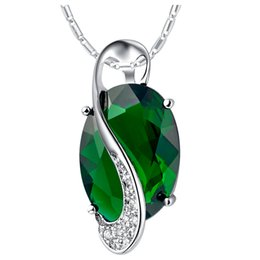 Wholesale cut stone necklace - whole saleBISAER 41.5+5CM Chain Green Stone Oval Cutting Silver Color High Quality Necklaces & Pendants Women Fashion Jewelry WEXN102-G