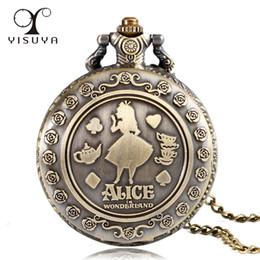 Медные часы для женщин онлайн-Vintage Style Women Girl Copper Classic Gift Round Pocket Watch Full Hunter Fob Watch Alice in Wonderland Necklace Chain