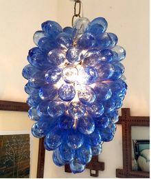 Luzes de bolha vintage on-line-Projeto do vintage Luzes Pingente de Uva LED Azul Handmade Soprado Lustre de Vidro Murano Iluminação Veneziana Frete Grátis