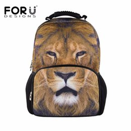 556cc7fabb9a FORUDESIGNS Boys Cool 3D Animal Lion Printing School Bags Shoulder Bag for  Students Large Capaity Book Bag Junior Softback Bolsa