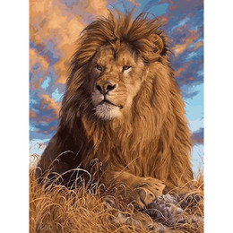 Wholesale Lion Drawings - Frameless Lion King on the prairie DIY Coloring Oil Painting By Numbers Kits Drawing Paint On Canvas For Wall Art Picture