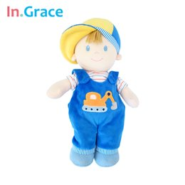 Wholesale Kids Classic Toy Cars - In.Grace fashion boys dolls plush and stuffed boy doll with car printed bibs and cute hat lifelike 12'' kids toy blue free ship