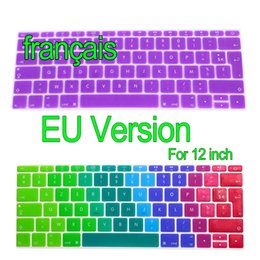 Wholesale euro stickers - French EU Version Keyboard Stickers Retina 12 inch Gradient Euro Layout Silicone Keyboard Cover for MacBook 12